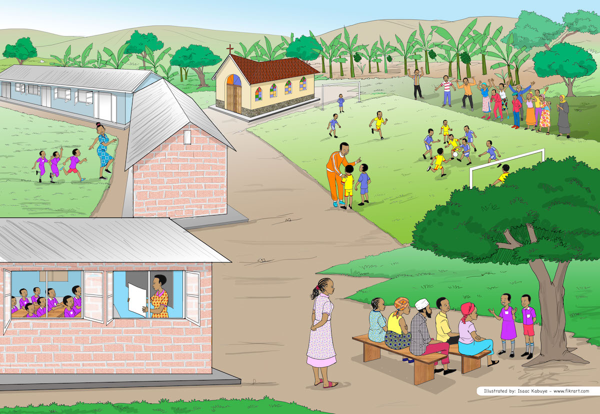 An illustration of a school in Uganda with positive community and school activities. (c) 2019 Isaac Kabuye for RTI International