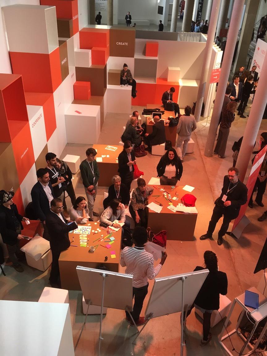 Image shows a collaborative space at the WISE Paris venue, the Palais de Tokyo